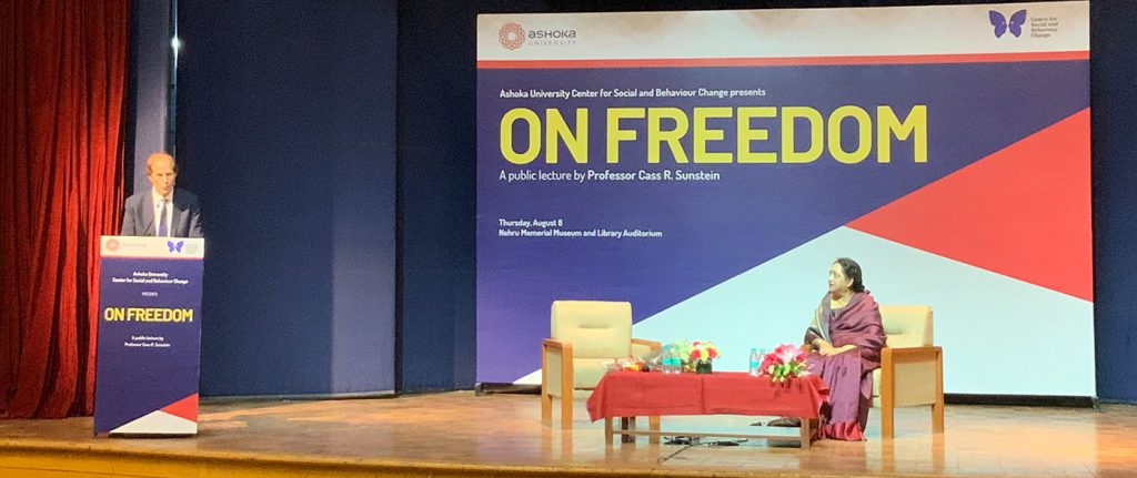 """On Freedom"" – a public lecture by Dr. Cass R. Sunstein"
